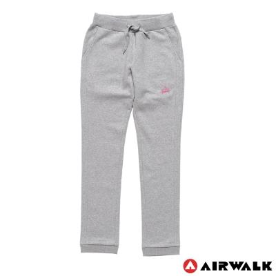 AIRWALK-女-棉休閒針織長褲-淺麻灰