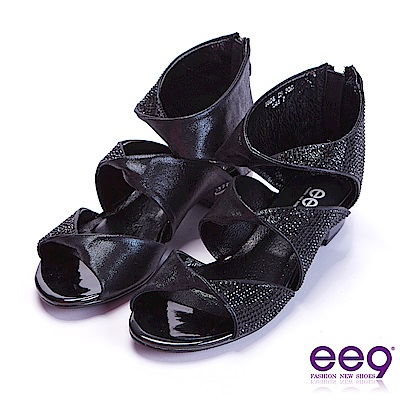 ee9 花漾年華鑲嵌水鏤空露趾粗跟涼鞋 黑色