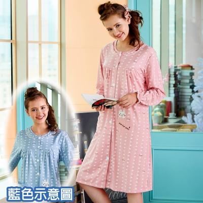 睡衣 精梳棉柔針織 長袖連身睡衣(65212)灰藍色 蕾妮塔塔
