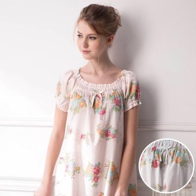 羅絲美睡衣 - 玫瑰花語短袖洋裝睡衣 (粉藍)