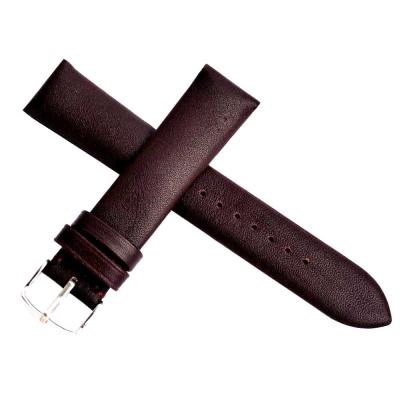 進口高級義大利厚實牛皮素面壓紋透氣錶帶-咖啡/無車縫線