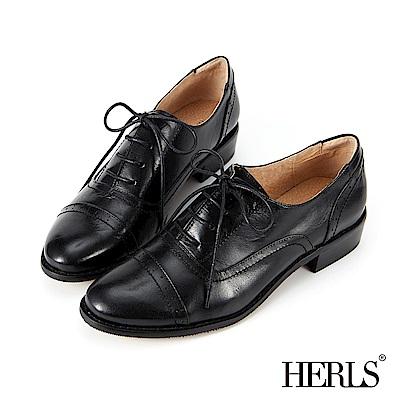 HERLS 全真皮 奶油擦色沖孔粗跟牛津鞋-黑色
