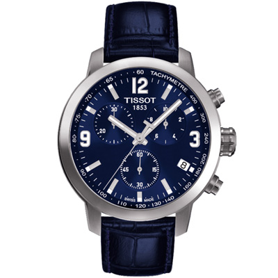 TISSOT PRC200 霸氣時尚三眼計時腕錶-藍/42mm