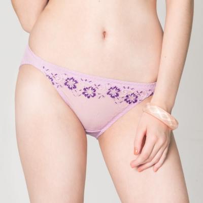 思薇爾-戀衣蝶舞系列M-XL蕾絲低腰三角內褲-紫丁