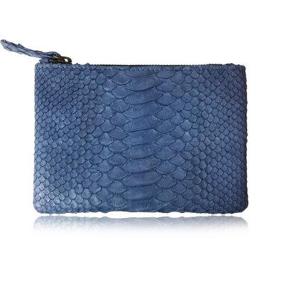 ACUBY 限量單品手工蛇皮手拿包/花漾藍
