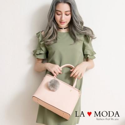 La Moda 獨家開版設計師原創人氣爆表毛球雙拉鍊托特方包(粉)