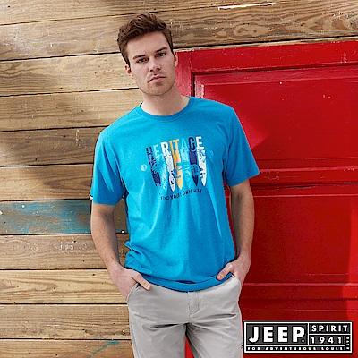 JEEP 美式斑駁圖騰印花短袖TEE-藍色