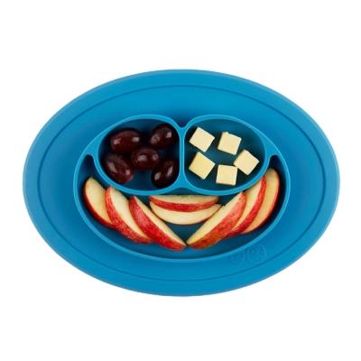 美國EZPZ矽膠幼兒餐具防滑餐盤 寶石藍(迷你版)