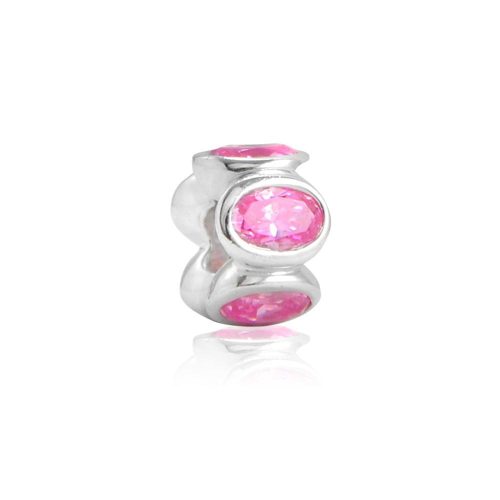 Pandora 潘朵拉 橢圓粉鑽間隔珠 純銀串珠 墜飾