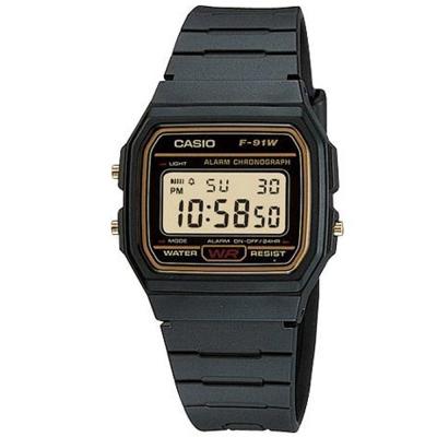 CASIO 運動小子電子錶(F-91WG-9)-黃框