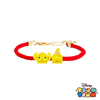 Disney迪士尼TSUM TSUM系列金飾 黃金編織手鍊-史迪奇+醜丫頭款