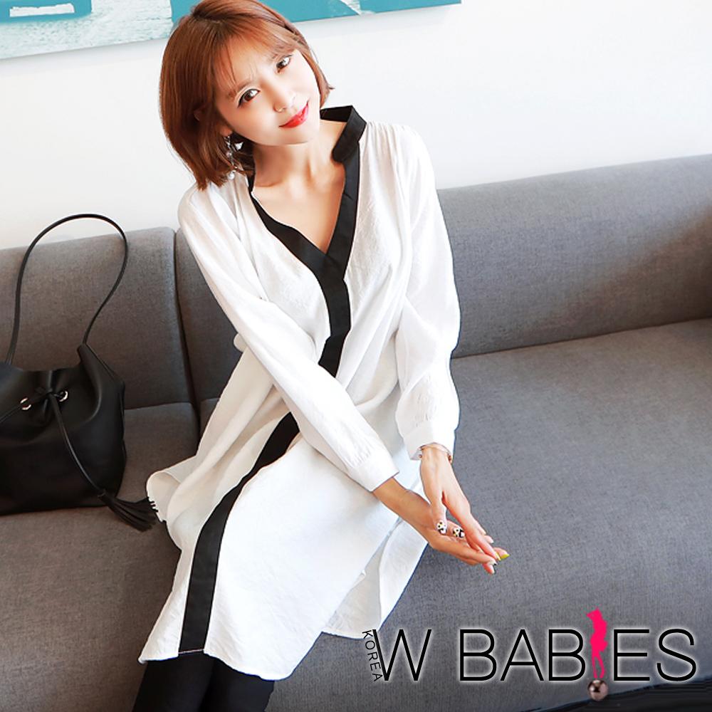 正韓 麻棉感配色邊長版襯衫洋裝 (白色)-W BABIES