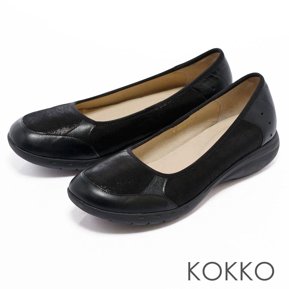 KOKKO通勤OL -輕鬆走異材質拼接休閒便鞋-舒適黑