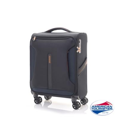 AT美國旅行者 20吋Airliner輕巧飛機輪布面TSA行李箱(黑/橘)