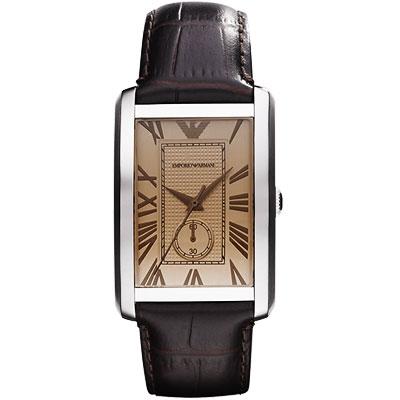 ARMANI 爵士時尚經典小秒針腕錶-香檳/30x 42mm