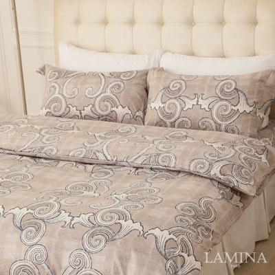 LAMINA-古典圖騰-灰-雙人加大三件式精梳棉床包組
