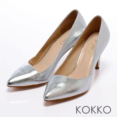 KOKKO摩登黑白配-炫彩時尚斜口尖頭美型跟鞋-金箔銀