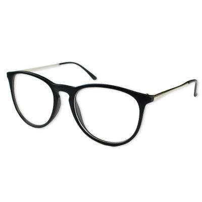 梨花HaNA-好萊塢青春氣息圓框小銀邊平光眼鏡-霧黑