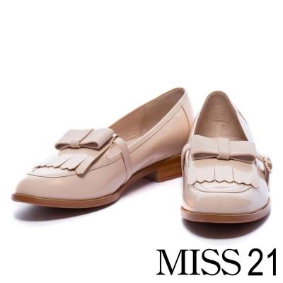 平底鞋 MISS 21 流蘇小蝴蝶結瑪麗珍樂福鞋-杏