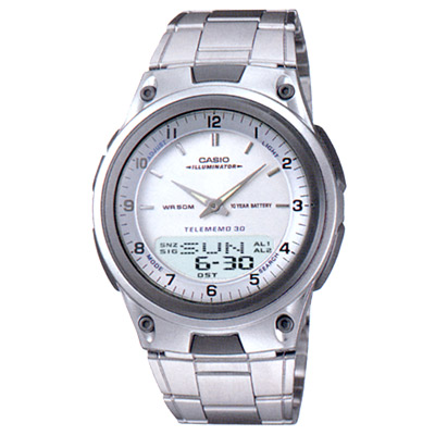 CASIO 都會時尚雙顯腕錶(AW- 80 D- 7 A)-銀白/ 40 mm