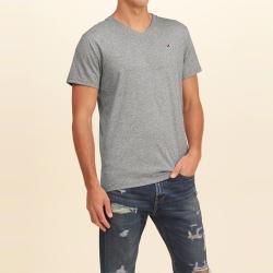 HCO Hollister 經典刺繡海鷗素色短袖T恤-灰色