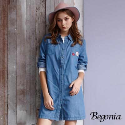 Begonia刺繡貼布反袖長版丹寧襯衫黑色