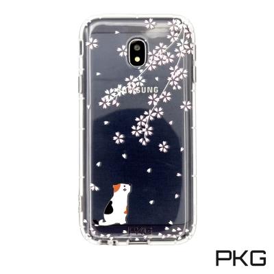 PKG SAMSUNG J3PRO 彩繪空壓氣囊保護殼-浮雕彩繪-櫻花貓