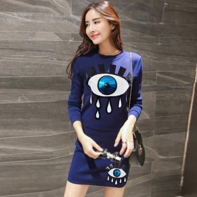 韓系-亮片眼睛針織上衣-包臀短裙套裝組-共三色-91-KOKO