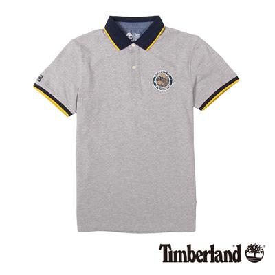 Timberland-男款淺灰色品牌布章短袖POL