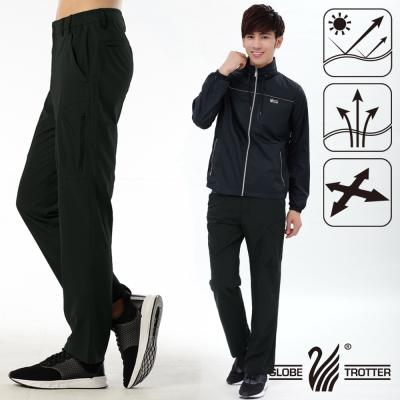【遊遍天下】男款涼爽超顯瘦彈性多口袋吸濕排汗抗UV長褲P132黑色