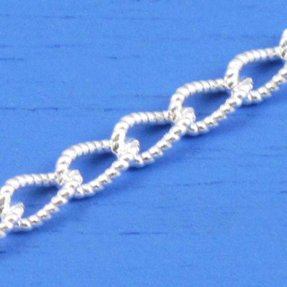 維克維娜 18吋純銀花式圈鎖鍊。義大利925純銀單鍊