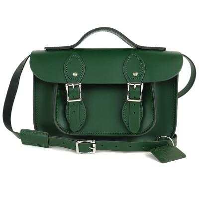 The Leather Satchel 英國手工牛皮劍橋包 肩背手提包 郵差綠 11吋