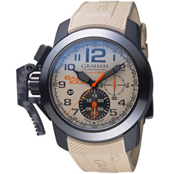 GRAHAM 格林漢 左冠計時機械腕錶-卡其色/48mm