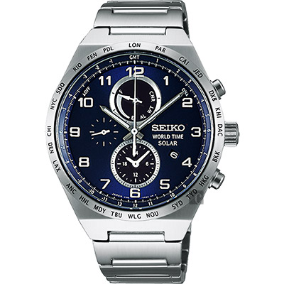 SEIKO 精工 SPIRIT 太陽能兩地時間計時腕錶(SBPJ023J)-藍/41mm