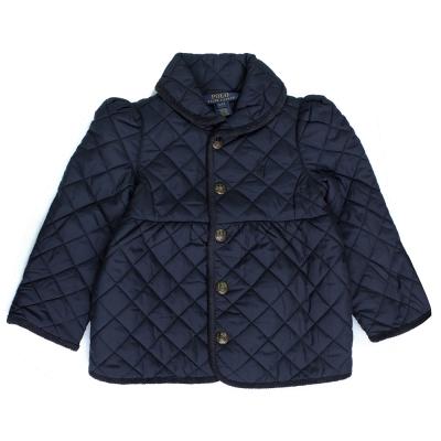RALPH LAUREN菱格壓紋鋪棉外套(深藍)