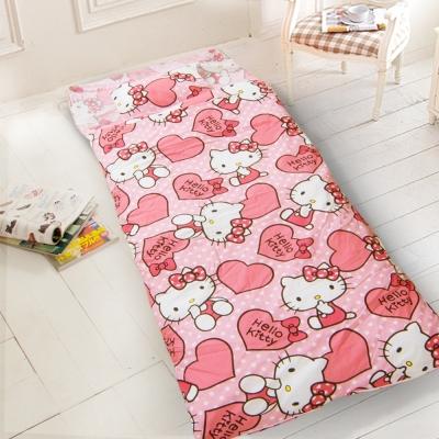 kitty-愛心-粉 幼教加大兒童睡袋(冬夏鋪棉兩用)