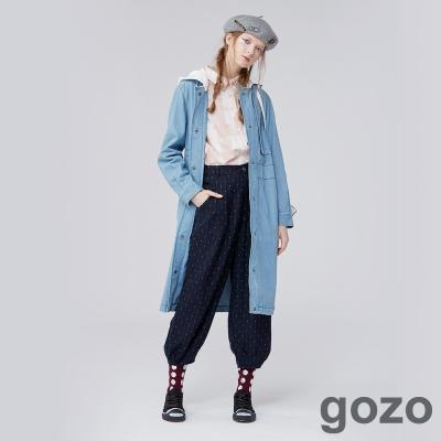 gozo漫步美術館長版牛仔連帽外套 (二色)-動態show