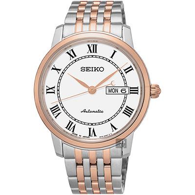 SEIKO精工 Presage 羅馬經典機械腕錶(SRP766J1)-白x雙色版/40mm