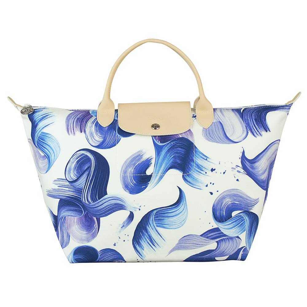 LONGCHAMP SPLASH水花圖案棉質帆布短提把手提包(中/藍)LONGCHAMP