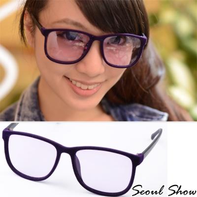 Seoul-Show-時尚亮眼毛絨-方圓框平光眼鏡-301紫色