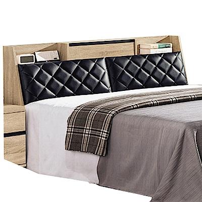 品家居 倫絲6尺橡木紋皮革雙人加大床頭箱-181.8x29x91cm免組