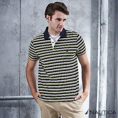 Nautica 陽光型男條紋短袖POLO衫 -黃藍