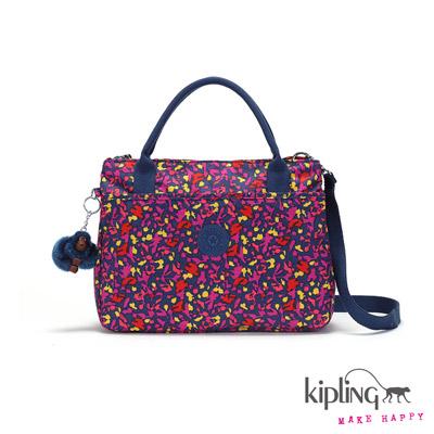 Kipling-手提包-多彩紫夏日印花
