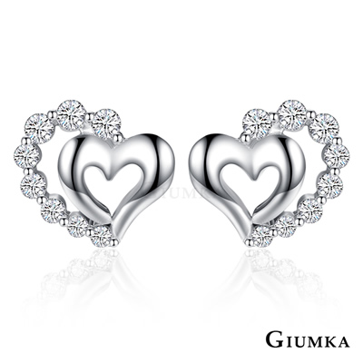 GIUMKA純銀耳環 花漾愛心 愛心耳環針式-銀色