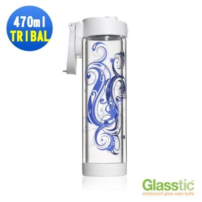 美國Glasstic安全防護玻璃運動水瓶限量設計款470ml-掀蓋式-TRIBAL