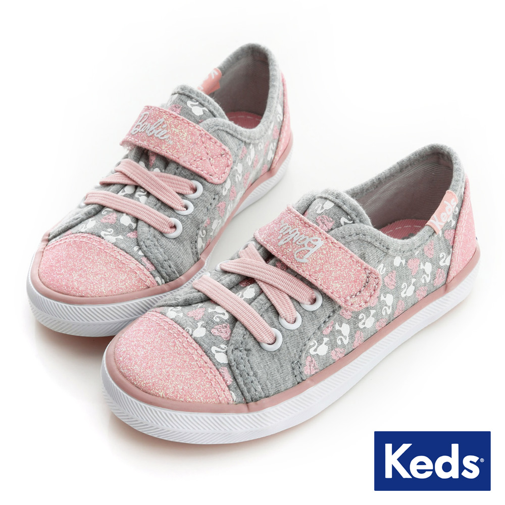 Keds 甜心芭比聯名款休閒鞋(For Kids)-灰/粉紅