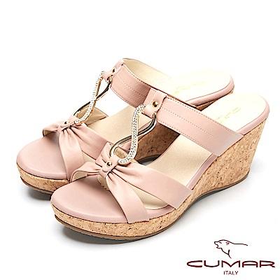 CUMAR時尚品味-優雅鑽飾真皮船形跟涼鞋-粉紅