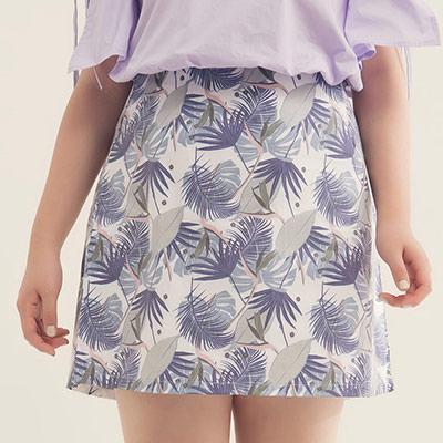 AIR SPACE PLUS 氣質葉子印花短裙(深藍)
