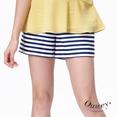 OUWEY歐薇-海軍風條紋棉質短褲-藍