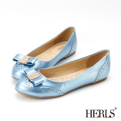 HERLS-典雅金釦-蝴蝶結娃娃鞋-藍色